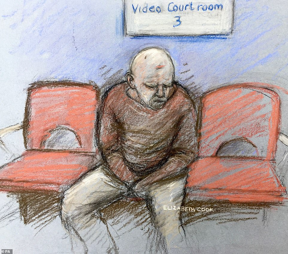 Wayne Couzens seen in a court sketch during a previous hearing relating to the case. His wifemoved out of the family home with her daughter, 11, and nine-year-old son in March