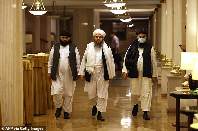 As soon as this morning it emerged the Taliban had made ground on the Afghan-Tajik border amid a huge rise in tensions in the region. Pictured:Leaders of the Taliban movement walk to a press conference in Moscow today