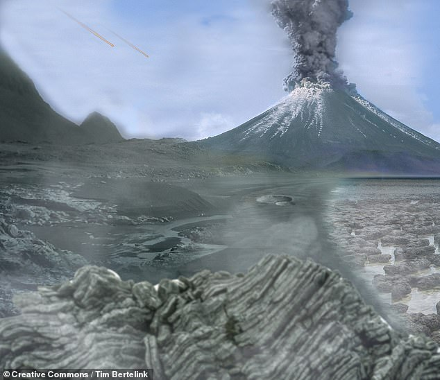 A series of city-sized asteroids bombarded the early Earth between 2.5–3.5 billion years ago — striking with a frequency of one impact every 15 million years. Pictured: an artist's impression of the surface of the Archean Earth, the period during which simple life first emerged