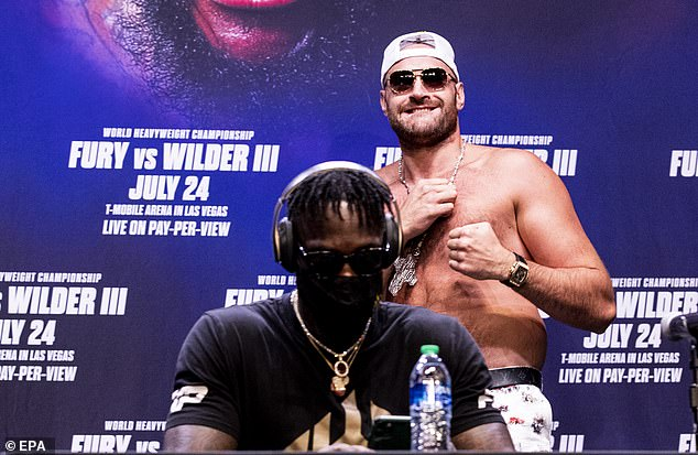 The fight between Fury (right) and Wilder is canceled after the Gypsy King tested positive for Covid
