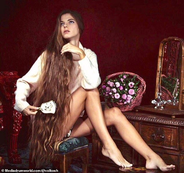 Care and attention: The model has now revealed the secrets to her healthy locks, revealing how she cares for them by avoiding heat styling and hair dye