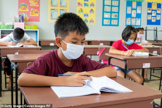 Recommendations include all unvaccinated children ages two and older wear masks and that desks are placed at least three feet apart (file image)