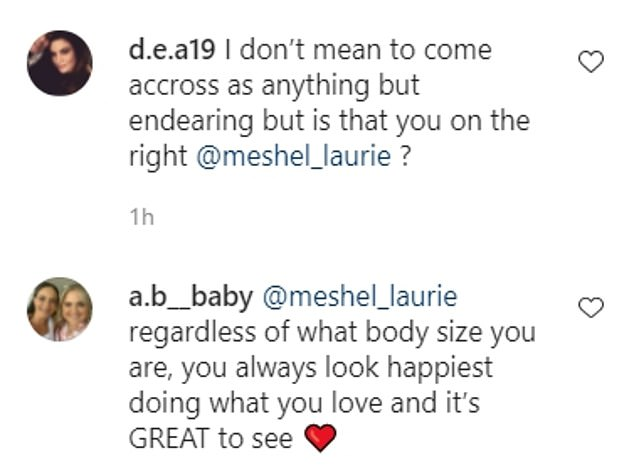 Support: Fans flocked to the post to share kind words. 'Meshel, you are looking incredible - love your whole look and you are absolutely glowing,' one wrote