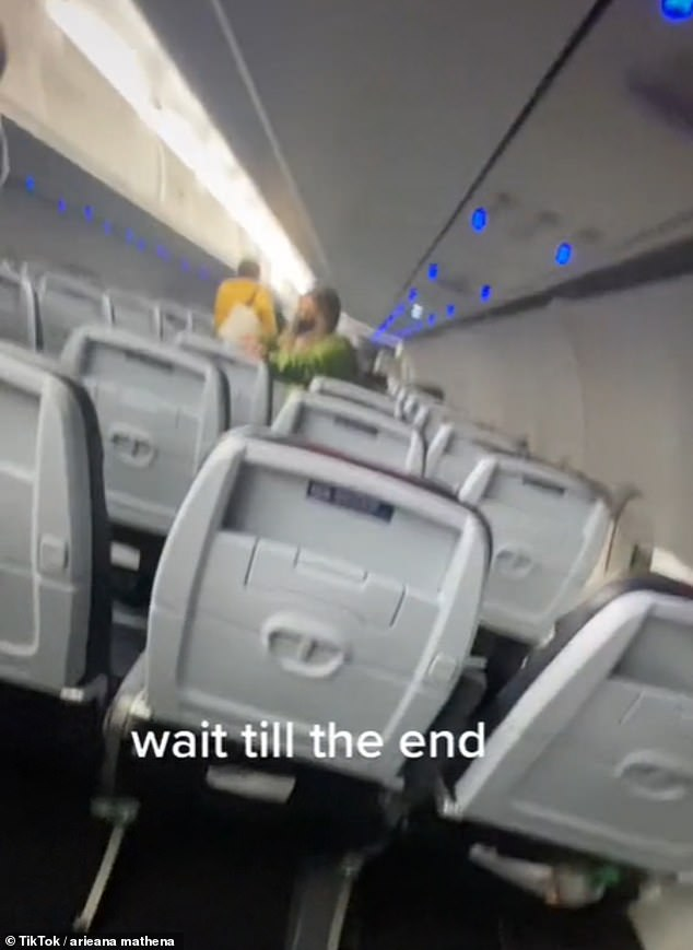 Part of the woman's meltdown was captured on camera by a TikTok user during the flight