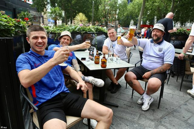 England supporters in London drinking this morning, ahead of the Three Lions' historic Euro 2020 final against Italy at Wembley