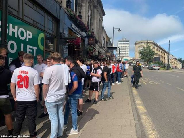 From 10am, fans were out in Bristol in their thousands. At Allstars Sports Bar, there was a queue of around 400 lining up