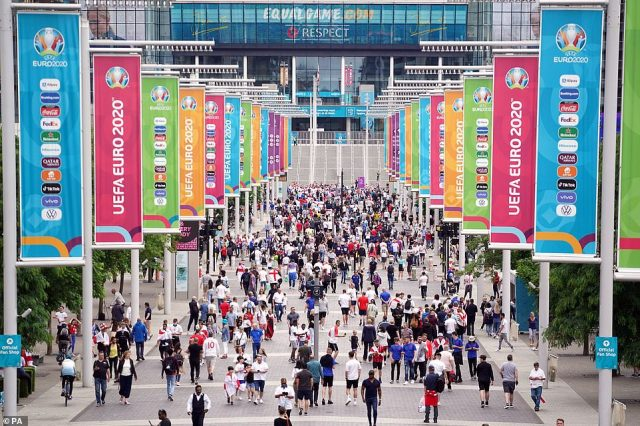 England fans outside the ground ahead of the Euro 2020 Final at Wembley Stadium