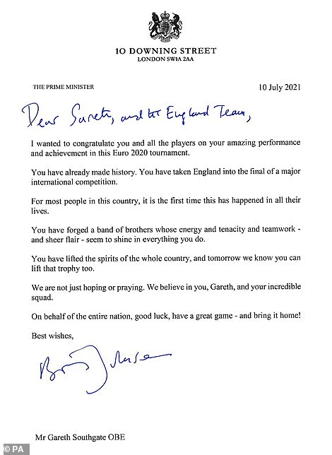 The prime minister praised the team's 'sheer flair' as he called on them to lift the trophy against Italy at Wembley on Sunday, saying they had 'already made history