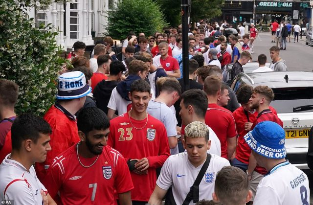 England fans queuing outside the The Faltering Fullback pub in Finsbury Park
