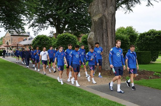 England's squad and staff took a final stroll around their hotel together this afternoon