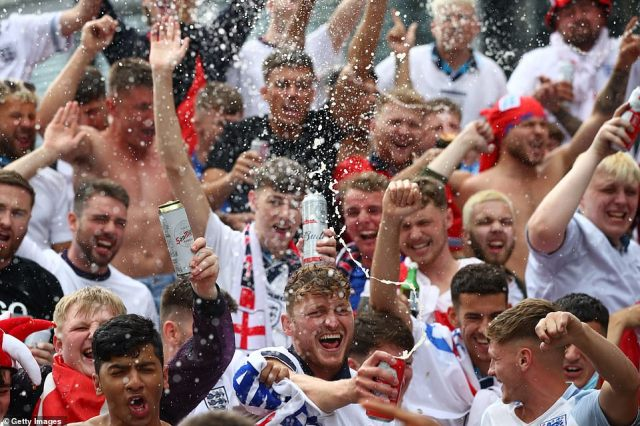 Jubilation among fans, several with dyed-blonde hair al la Phil Foden, on the streets of London as beers flow ahead of the greatest footballing occasion in 55 years
