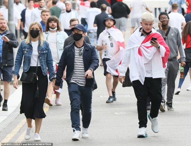 Showing support: Making sure not to miss England's all-important final, Dec and wife Ali were seen rocking up to Wembley holding hands