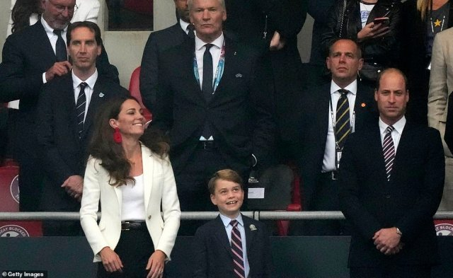 The Duke and Duchess of Cambridge have brought their son Prince George to cheer on the Three Lions at Wembley tonight