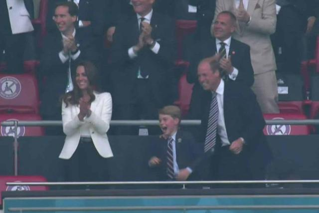 Prince George looked thrilled as he cheered on Luke Shaw's goal in the opening minutes of the match at Wembley tonight
