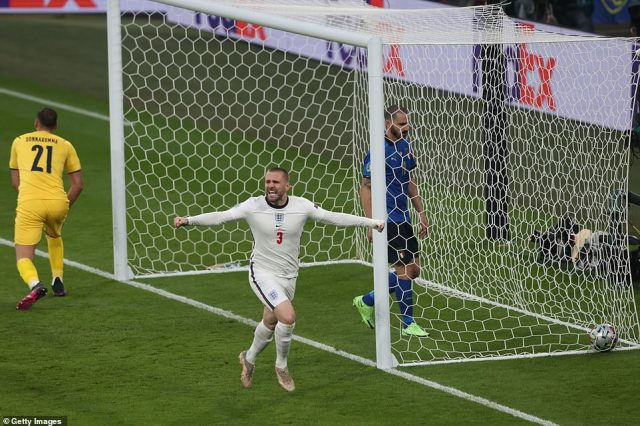 Luke Shaw peels away from the goal, his arms spread wide in celebration after England took the lead after just two minutes