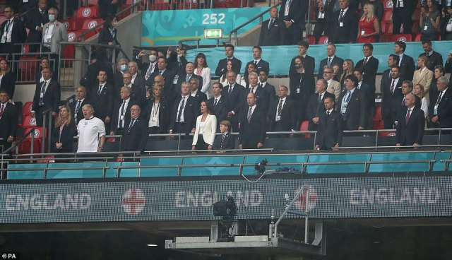 The Duke and Duchess of Cambridge joined VIPs including Boris and Carrie Johnson (bottom left) at Wembley today