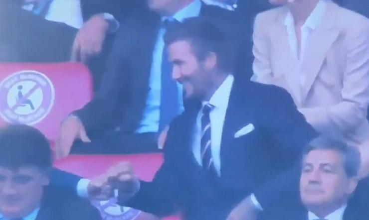 Happy:David fist bumped Tom after England's early goal in their Euros 2020 final clash against Italy on Saturday night as he led the stars descending upon Wembley for the historic match