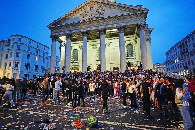 Litters is strewn across the street nearSt Martin-in-the-Fields in London's Trafalgar Square during the UEFA Euro 2020 final between Italy and England