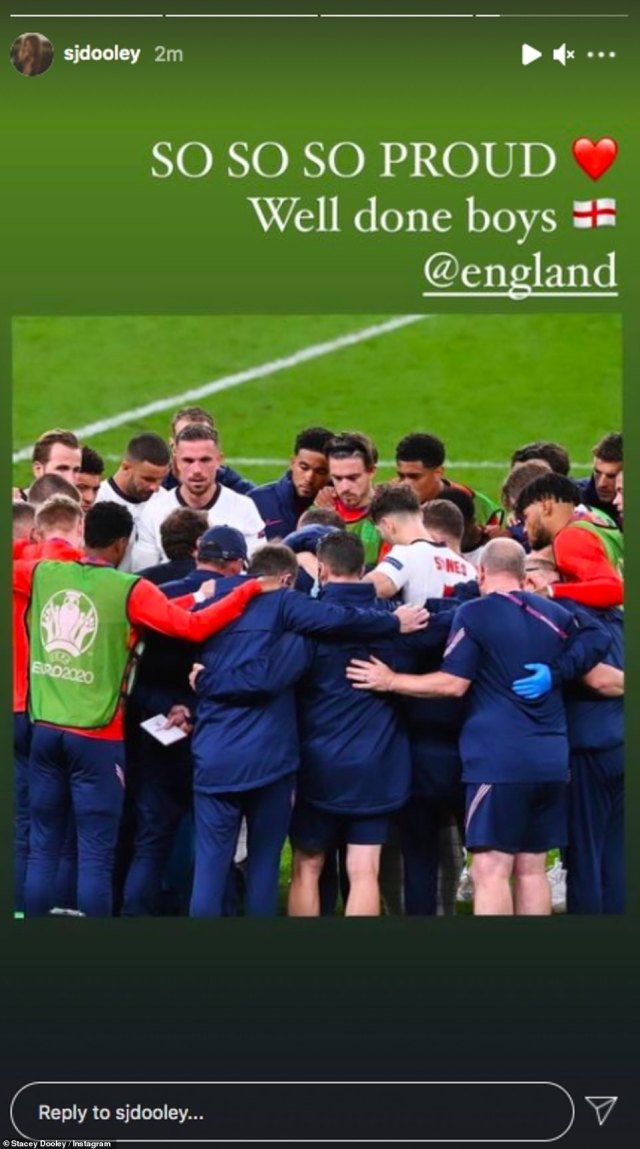 Reflecting:Meanwhile Stacey Dooley took to her Instagram Story to share a picture of the team with the caption: 'SO SO SO PROUD. Well done boys @england.' RELATED ARTICLES Previous 1 2 Next 'He was desperate'