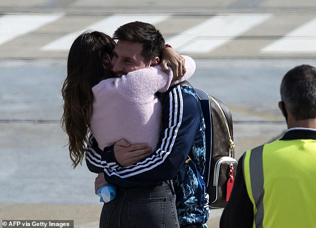 Messi was reunited with his wife, who could not travel to watch due to Covid restrictions