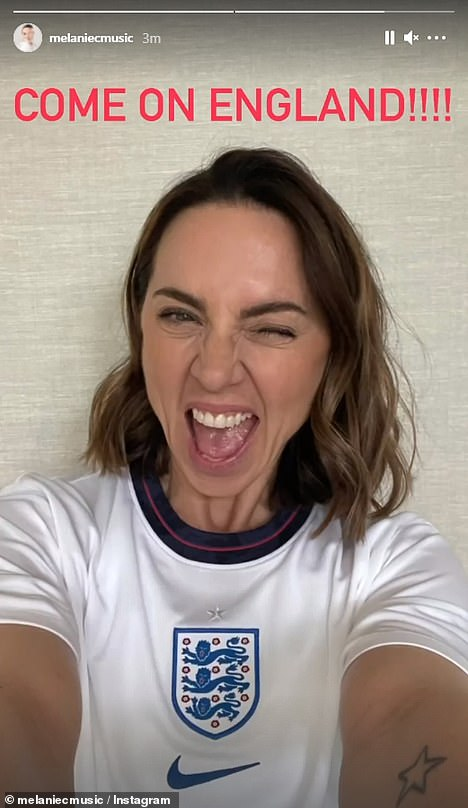 Football fan:The Spice Girls' Mel C also took to Instagram ahead of the match as she posed in her white shirt and captioned the snap: 'COME ON ENGLAND!!!!'