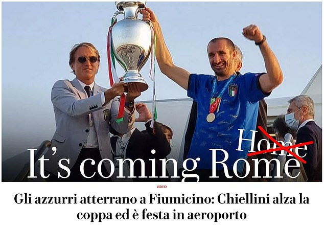 Mocking England's chant of 'it's coming home,' Repubblica ran with the English-language headline 'it's coming Rome'