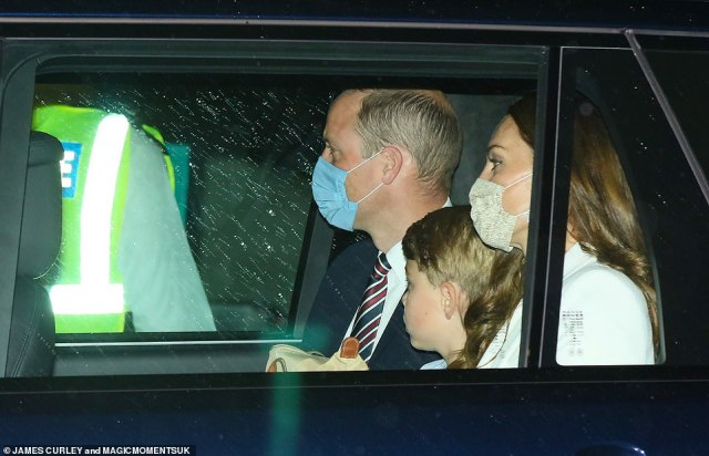 Always next year, son: The Duke and Duchess of Cambridge and their eldest son appeared to be in solemn mood following England's loss