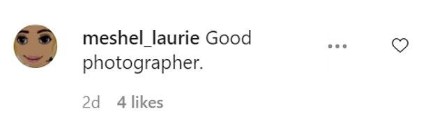 Humble: Meshel was was coy in her reply, simply writing that she had a 'good photographer'
