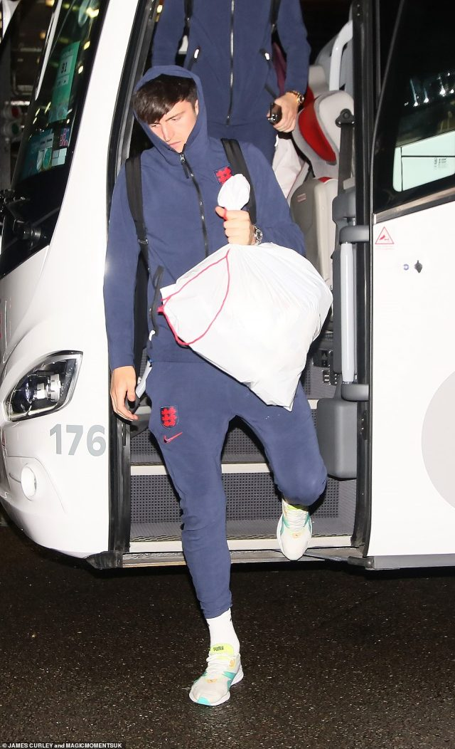 England defender Harry Maguire arrives back at the team hotel last night following the country's devastating defeat