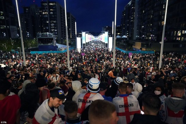 England fans outside the ground during the UEFA Euro 2020 Final at Wembley Stadium