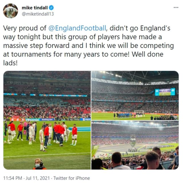 Mike shared photos of the game from Wembley on his official Twitter account last night. He wrote: 'Very proud of @EnglandFootball, didn't go England's way tonight but this group of players have made a massive step forward and I think we will be competing at tournaments for many years to come! Well done lads!'