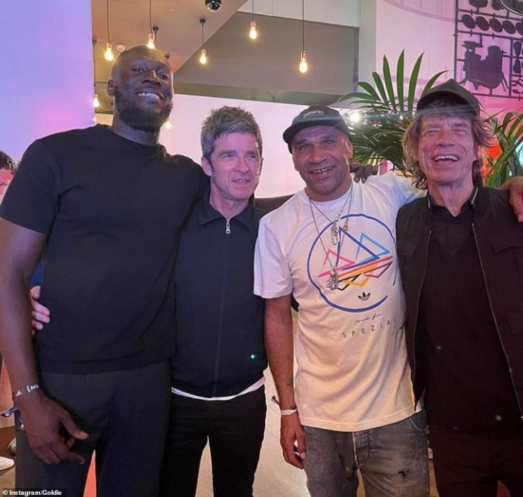 Famous friends: He was later seen partying away his Euros 2020 blues with Stormzy, Goldie and Mick Jagger (pictured L-R)