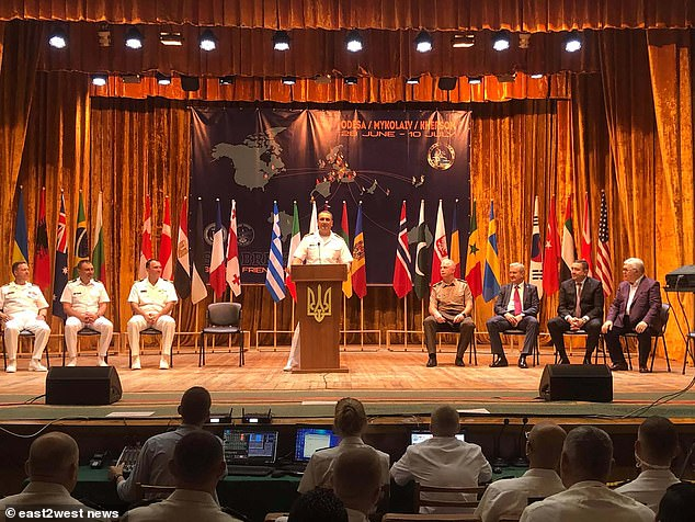Awards were also made to Western commanders for 'strengthening the combat readiness' of Ukraine's navy. Pictured: Closing ceremony of Sea Breeze-2021 drills on July 10