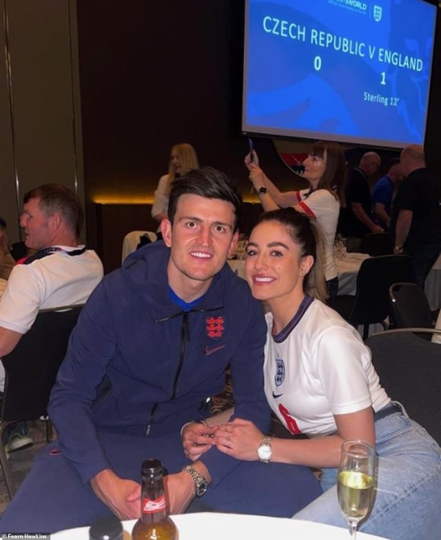 Harry Maguire's fiancee Fern shared this sweet photo of the pair reunited after weeks apart
