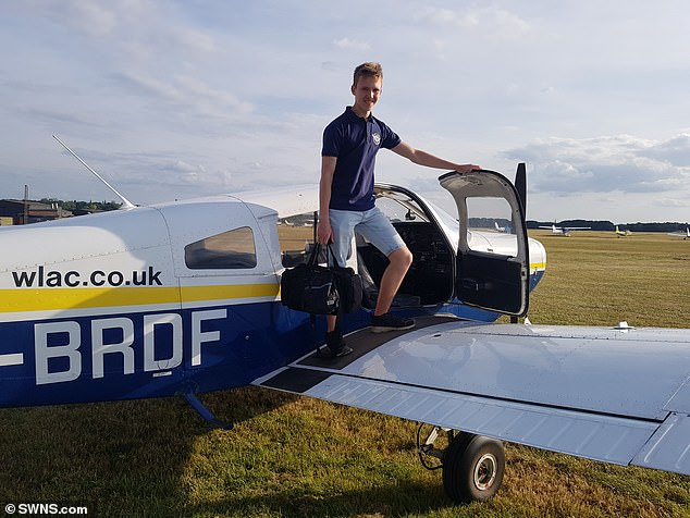 The gruelling expedition saw the teenager, from Ibstone, Buckinghamshire, spend up to eight-hour days manning his single-engine Cessna 172 N5010 aircraft