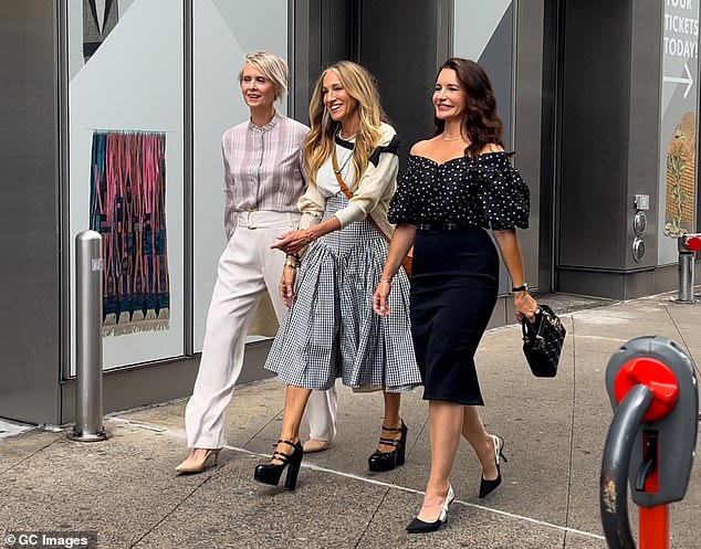 Let's go girls! Davis has reunited with Sarah Jessica Parker and Cynthia Nixon for Just Like That (pictured July 9, 2020)