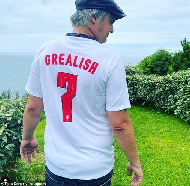 Big fan:Pete Doherty, 42, revealed that he'd even been sent an England shirt by one of the team's most talked about players - 25-year-old midfielder Jack Grealish