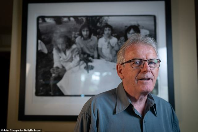 Alec Byrne, above, in front of his picture of The Who taken at that July 1971 party. Byrne, who now lives in Los Angeles, went from a teen listening to The Who at a Soho club in London to photographing them. 'They used to do a gig at this grimy little club just off Wardour Street called the Marquee. And every Tuesday, we'd go along there, line up in the rain and we'd watch The Who. Little did I realize a few years forward, I've now be invited to the Marquee for their 10th anniversary and its hosted by Keith Moon, one of my heroes back in the day,' he recalled. 'That to me was like a bit of a surreal moment: To go in such a short period of time from kid lining up to sitting down having a drink when one of your idols. That was really a thrill'
