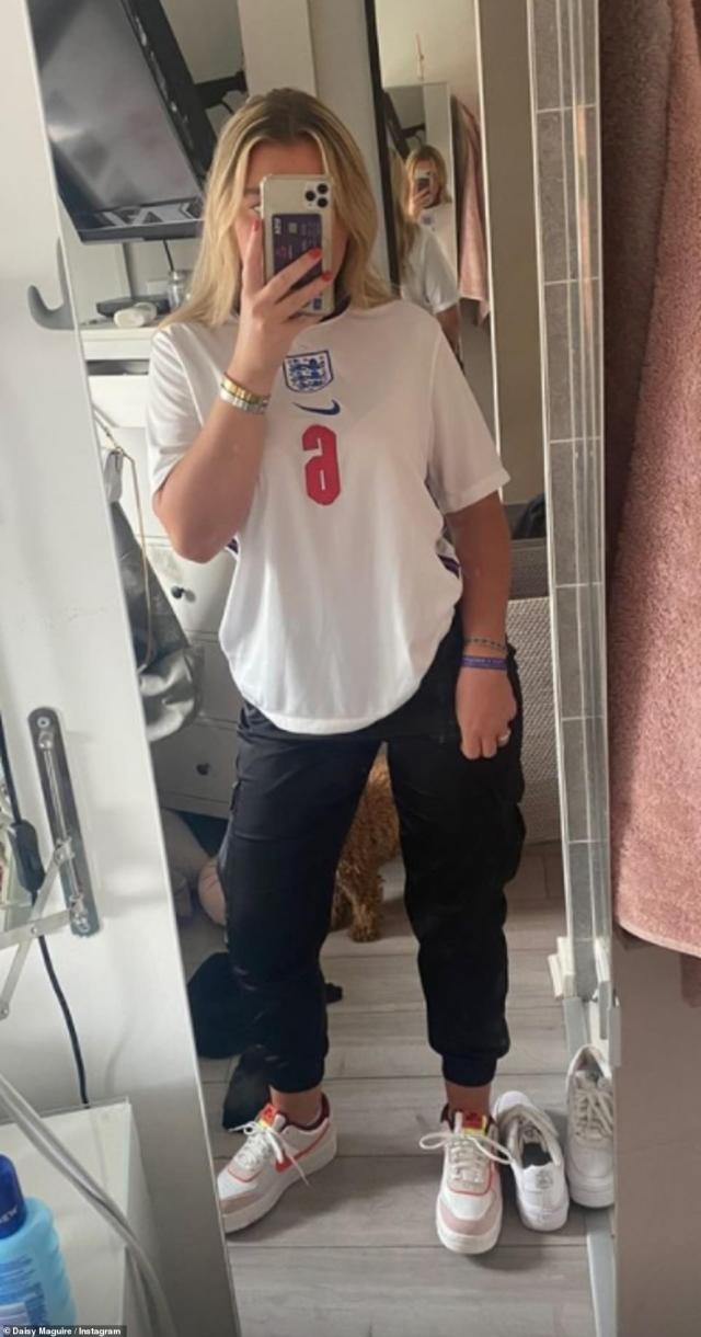 Three lions on the shirt: Harry's sister Daisy uploaded a photo of herself posing in a mirror before the party, as she donned an England shirt in tribute to her brother