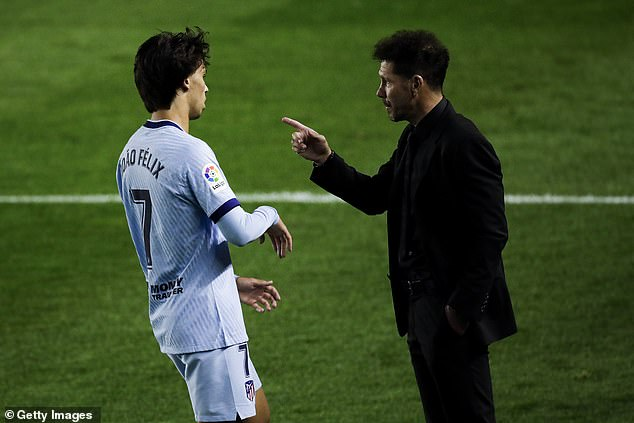 Felix is said to have a tense relationship with Diego Simeone (right) but Atleti will not sell