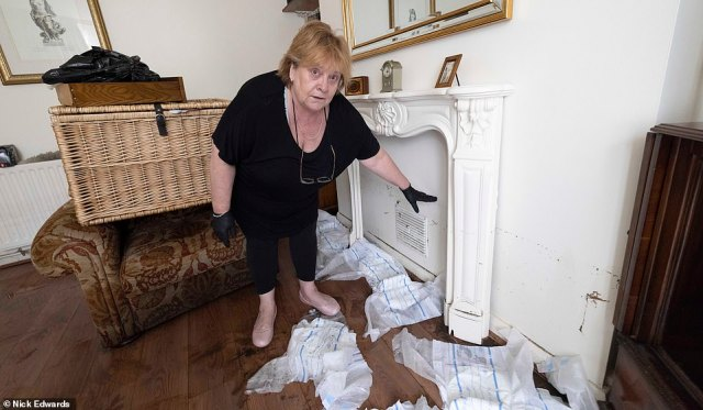 Jacqui Barber, 60, told MailOnline: 'I was in the house and there was a lot of rain and it was torrential coming over the top'