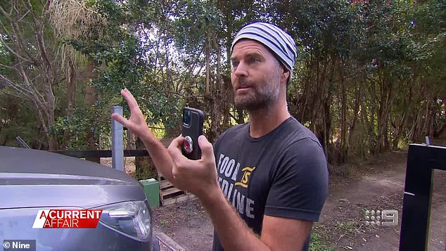 A wide-eyed and dishevelled Pete Evans (pictured) has fended off questions about a controversial hippy commune he's promoting by calling a reporter 'fake news'