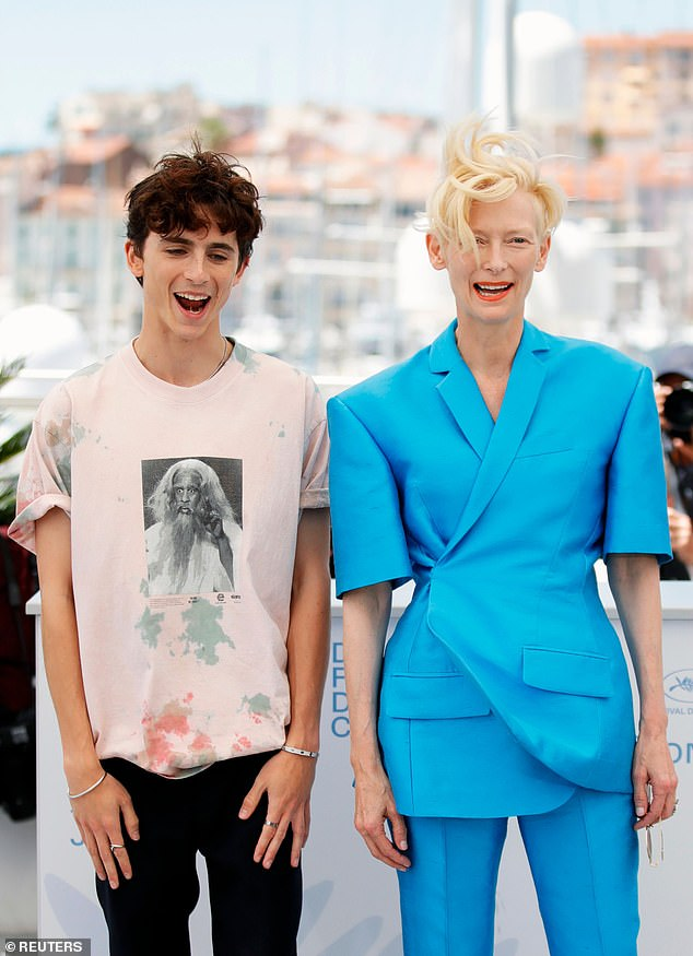Outfit: Tilda, 60, cut a stylish figure for the day, donning a bright blue blazer which she paired with matching trousers