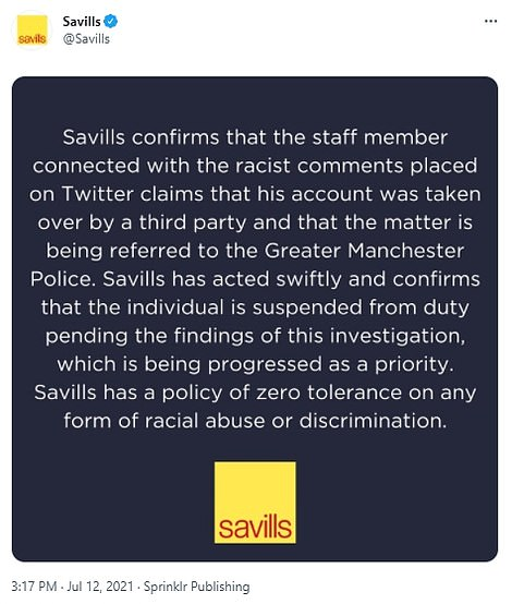 Savills confirmed that Mr Bone had been suspended pending the outcome of the force's investigation, adding that he claims his account was 'taken over by a third party'