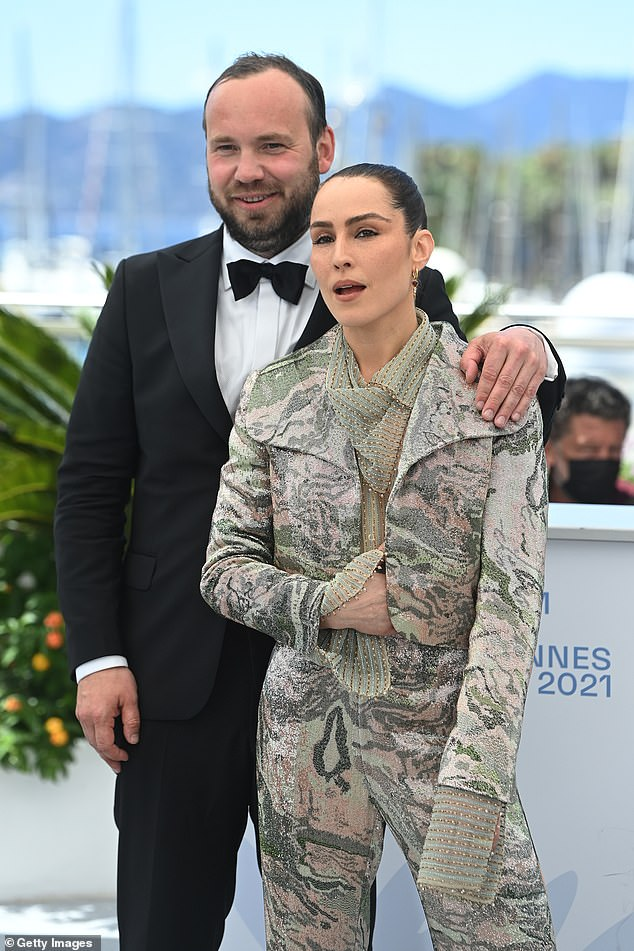 Radiant: Noomi looked sensational in a printed long-sleeved jumpsuit which featured a sequined detail
