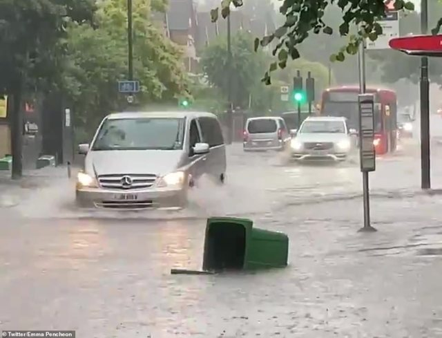 Three inches of rain in just 90 minutes made yesterday the third wettest day for west London (London, pictured) on record - with Kensington and Chiswick particularly hard hit