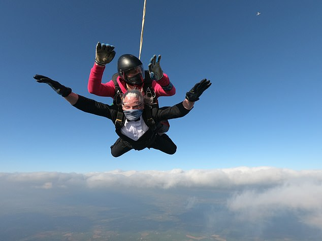 'Sense-less' challenge: Four months in and he has already put himself through a terrifying skydive, tortuous training with the SAS and a marathon bike ride