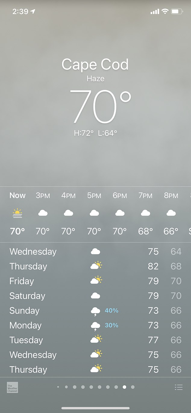 Apple's weather app does not show temperatures of 69 degrees as part of iOS 14. A check by DailMail.com showed Cape Cod at 70 degrees