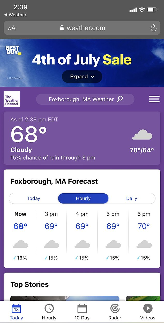 Upon clicking through to Weather.com for Foxborough, a reading of 69 degrees was seen