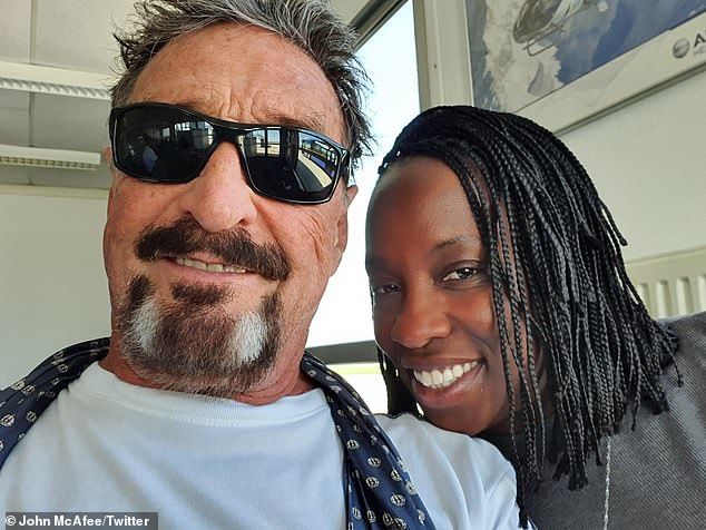 The widow of deceased antivirus pioneer John McAfee, has released the alleged suicide note of her late husband in a post on Twitter Tuesday. In this photo, Janice McAfee (right) is pictured with her late husband, John (left)